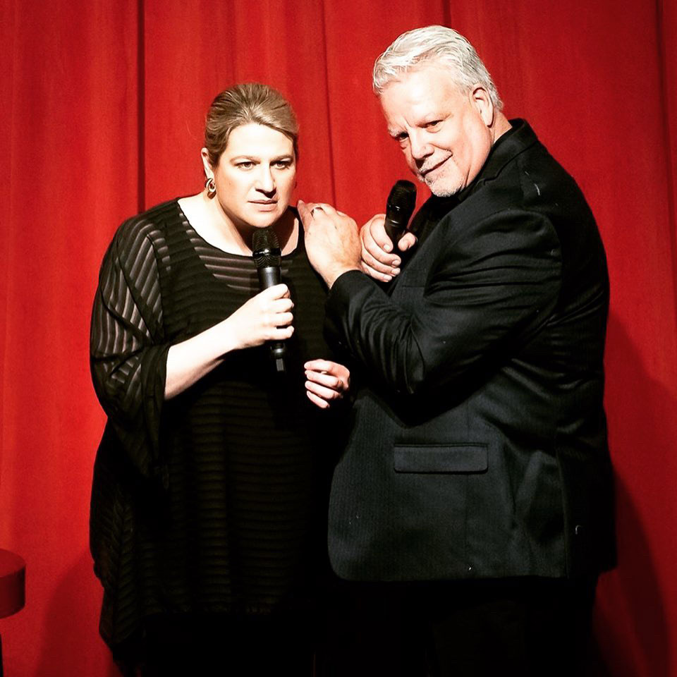 """Kara alongside Ken McMullen at the end of their """"Flipping Broadway!"""" performance at The Shawnee Playhouse."""